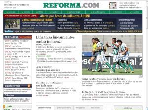 Portada del diario online, Reforma