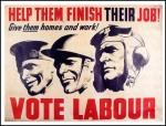 Pancarta que apoya al Partido Laborista.